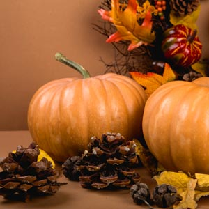 Pumpkins and other decorations