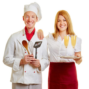 Cook and waitress side by side