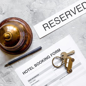 Hotel reservation photo concept